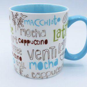 Starbucks 2007  Coffee Word Collage Blue & White 16oz. Mug